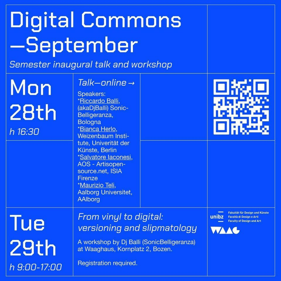 Semester Inaugural Talk & Workshop about Digital Commons
